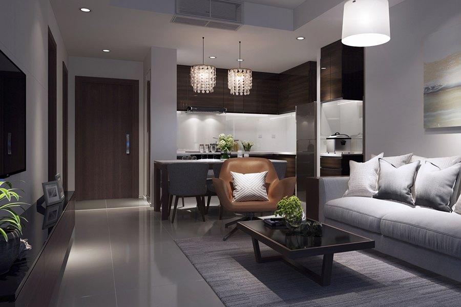 Căn hộ 2 phòng ngủ hoàn thiện cơ bản